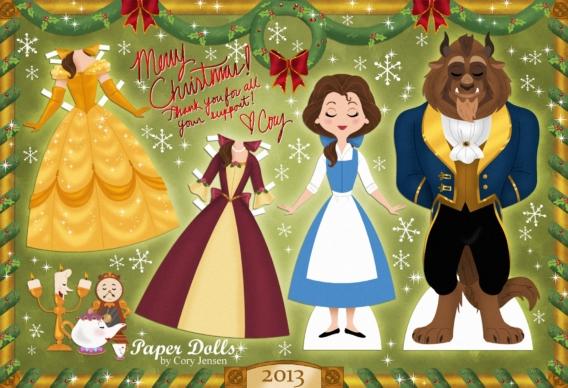Bella y Bestia: Muñeca de papel para imprimir y vestir gratis