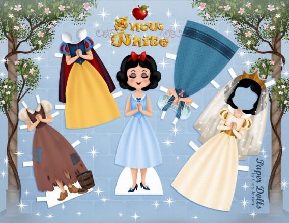 Blanca Nieves: Muñeca de papel para imprimir y vestir gratis