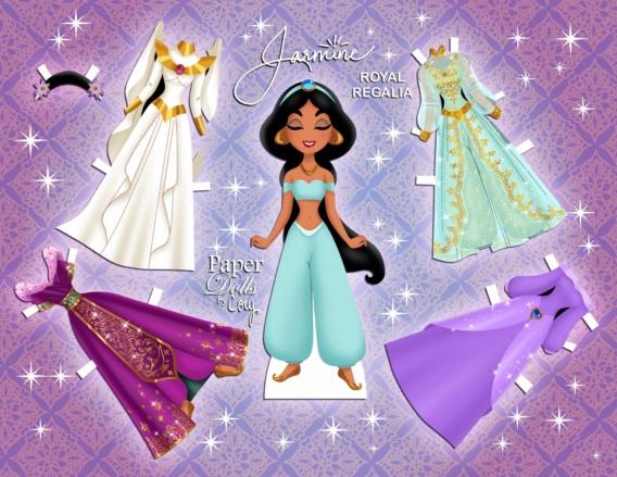 Jasmín: Muñeca de papel para imprimir y vestir gratis