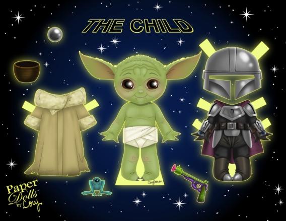 Baby Yoda: Muñeco de papel para imprimir y vestir gratis