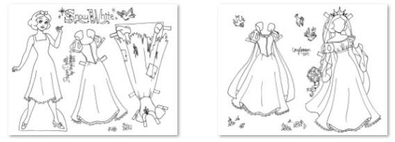 Blancanieves para colorear, recortar y vestir