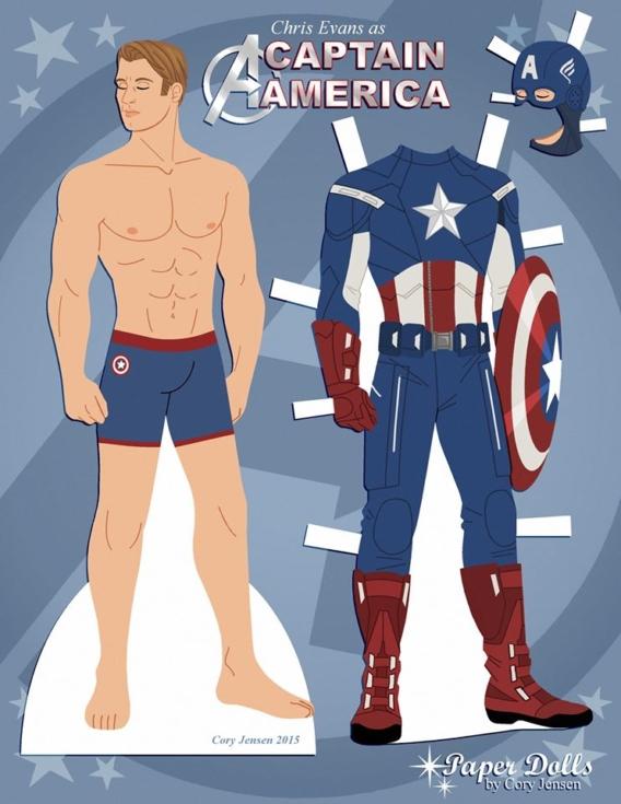 Capitan América: Muñeco de papel para imprimir y vestir gratis