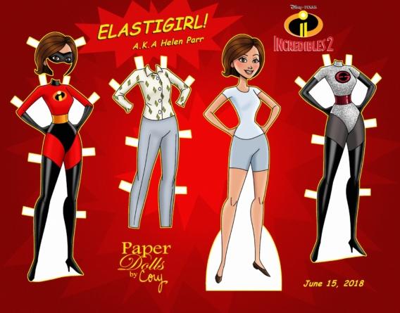 Elastic Girl: Muñeca de papel para imprimir y vestir gratis