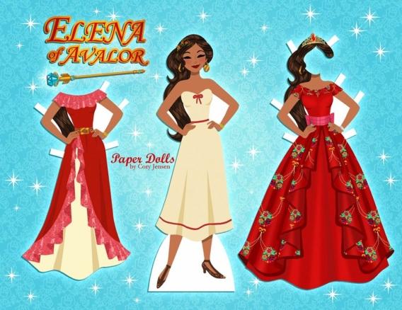 Elena de Avalor: Muñeca de papel para imprimir y vestir gratis