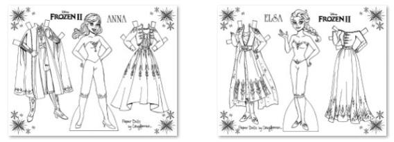 Elsa y Anna Frozen II para colorear, recortar y vestir