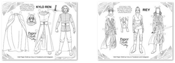 Kylo Ren y Rey de Star Wars para colorear, recortar y vestir