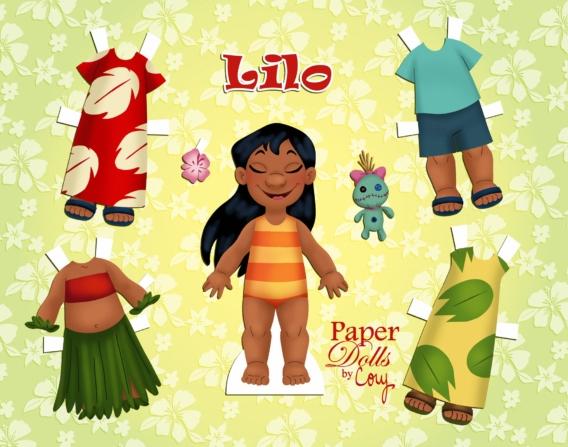 Lilo: Muñeca de papel para imprimir y vestir gratis