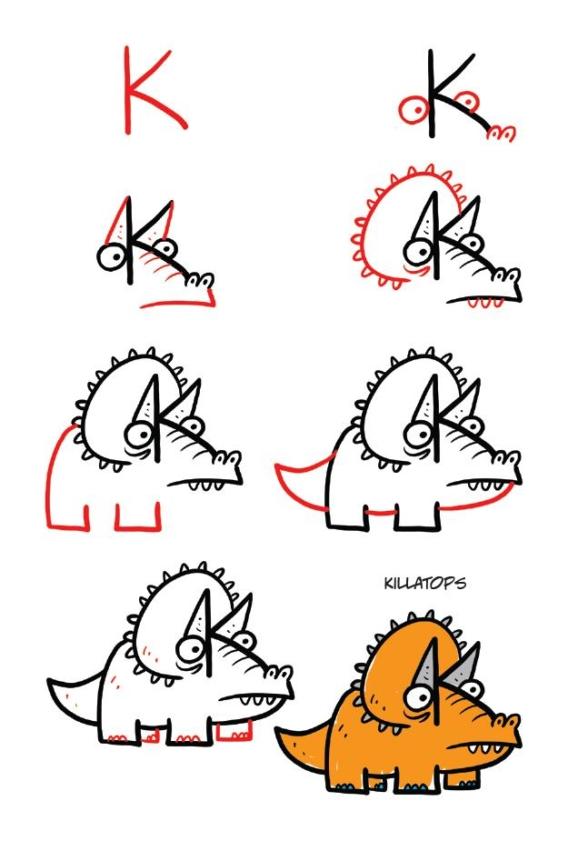 Dibujar dinosaurio paso a paso
