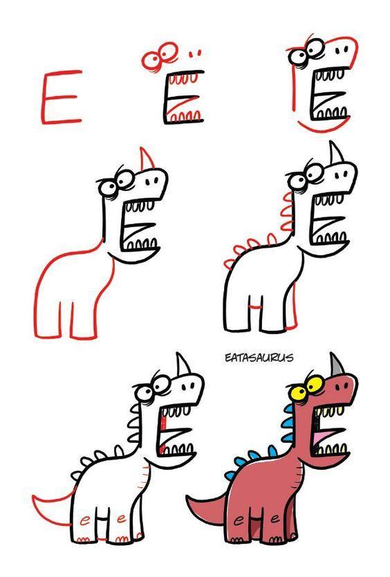 Como dibujar un divertido dinosaurio en pocos pasos