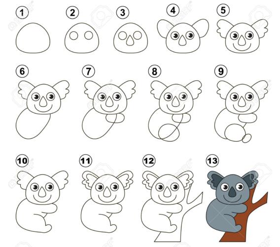 Paso a paso para dibujar un koala