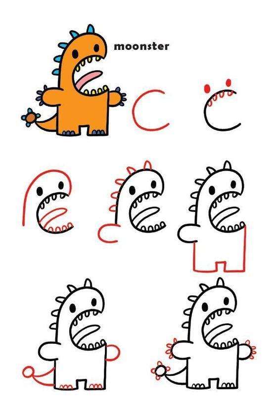 Como dibujar un monstruito paso a paso