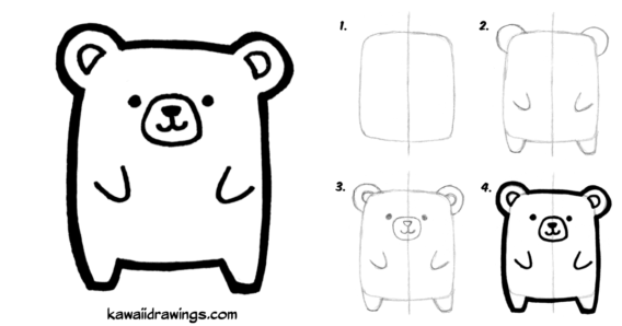 Aprende a dibujar un tierno osito en cuatro pasos