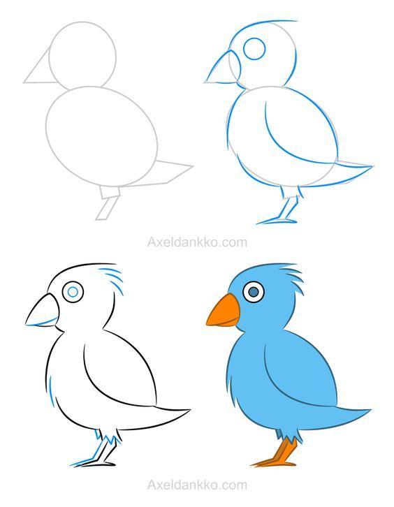 Aprende a dibujar este pajarito en simples pasos