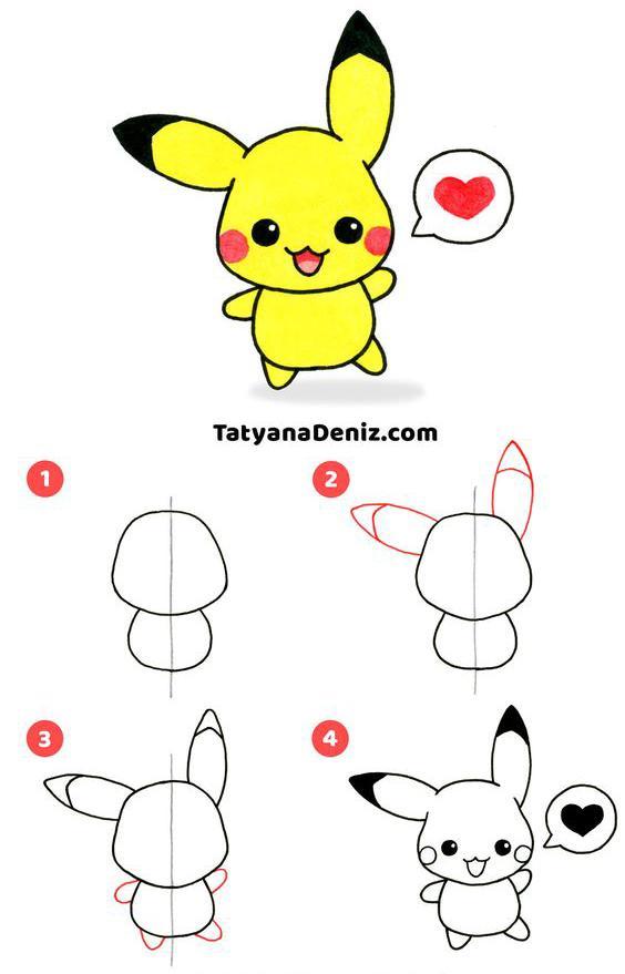 Como dibujar a Picachu muy simple