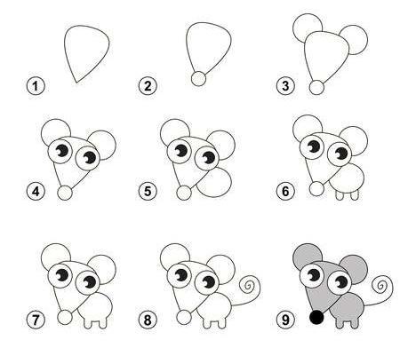 9 simples pasos para dibujar un tierno ratoncito