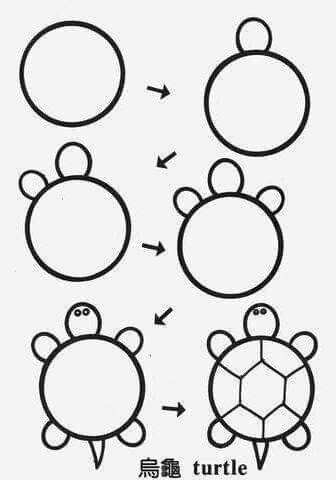 Como dibujar una tortuga muy fácil