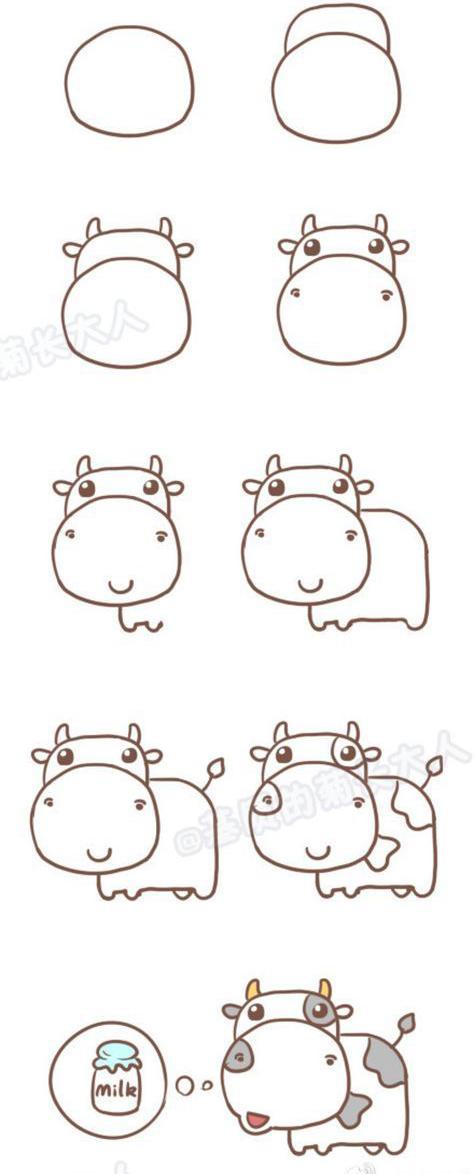 Como dibujar una vaquita de forma sencilla
