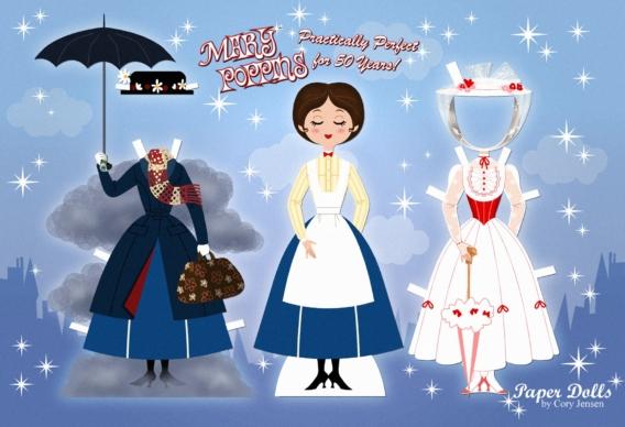 Mary Poppins: Muñeca de papel para imprimir y vestir gratis