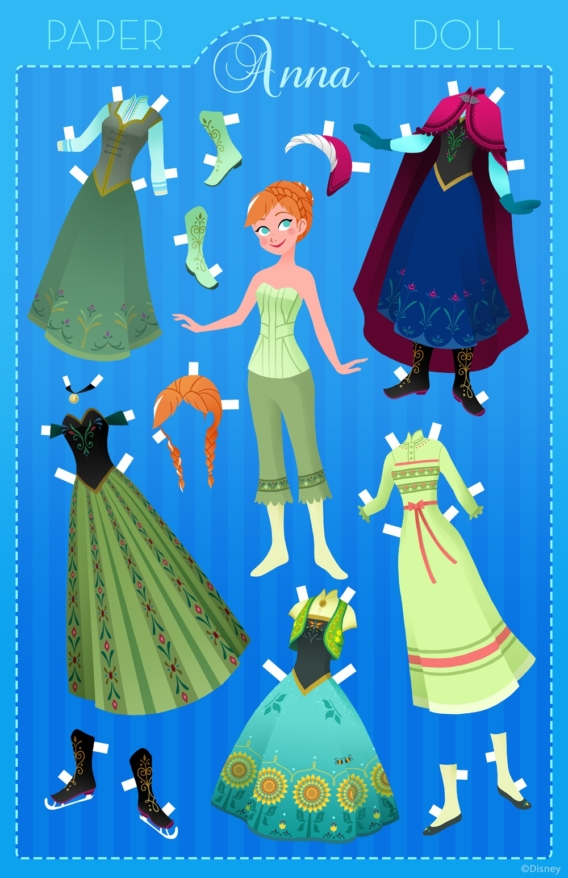Anna: Muñeca de papel para imprimir y vestir gratis