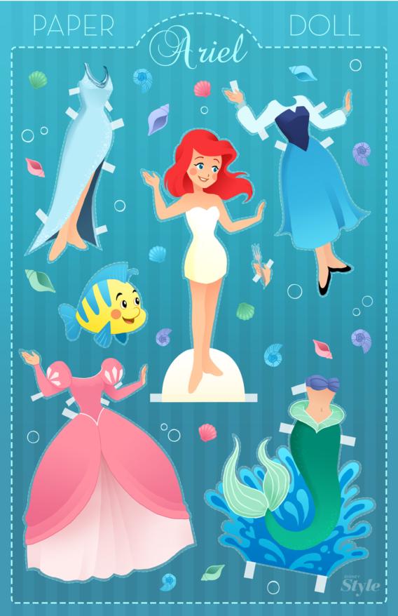 Sirenita: Muñeca de papel para imprimir y vestir gratis