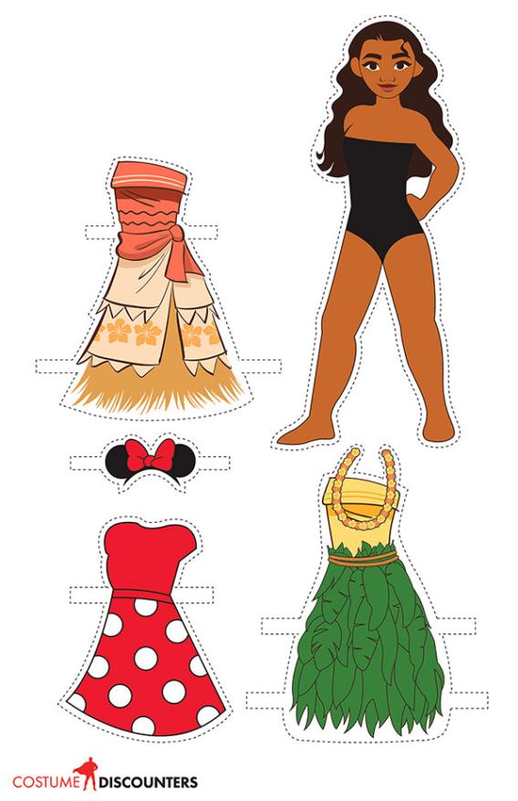 Moana: Muñeca de papel para imprimir y vestir gratis