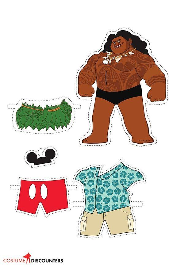 Maui: Muñeco de papel para imprimir y vestir gratis