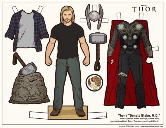 Thor: Muñeco de papel para imprimir y vestir gratis
