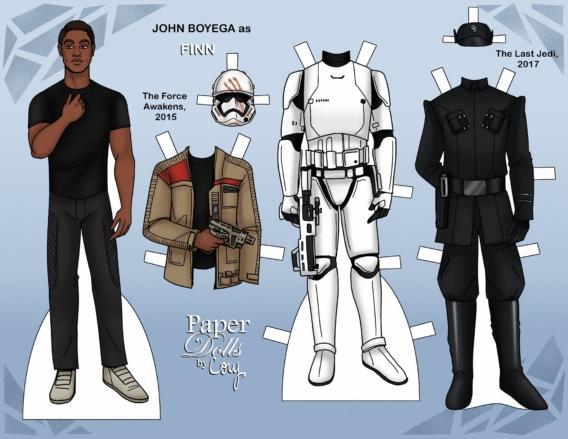 Finn de Star Wars: Muñeco de papel para imprimir y vestir gratis