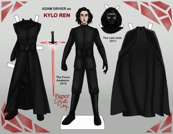 Kylo Ren: Muñeco de papel para imprimir y vestir gratis