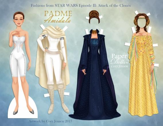 Padme: Muñeca de papel para imprimir y vestir gratis