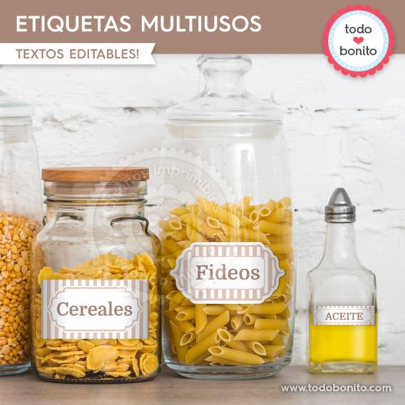 Rayas beige: etiquetas multiusos