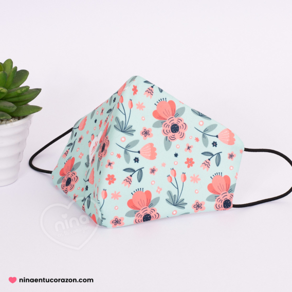 Cubreboca flores