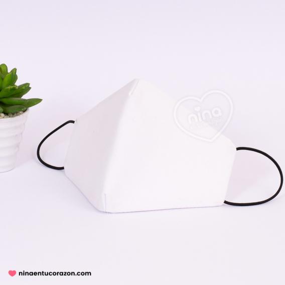 Cubrebocas liso blanco
