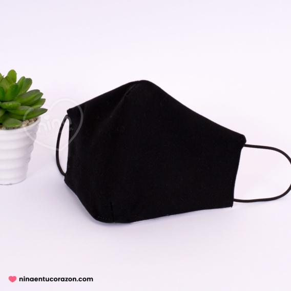 Cubrebocas liso negro
