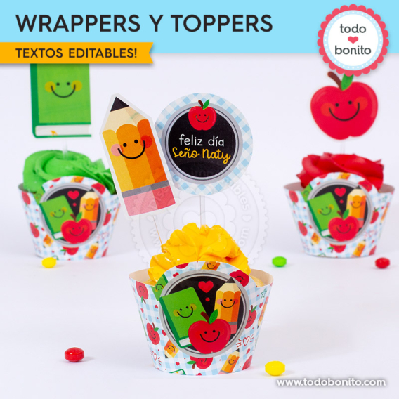 Wrappers y toppers día del maestro