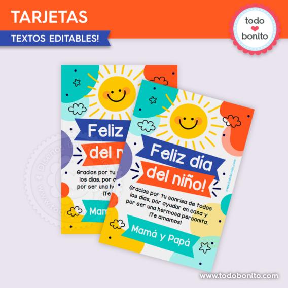 Kit imprimible tarjetas para el día del niño