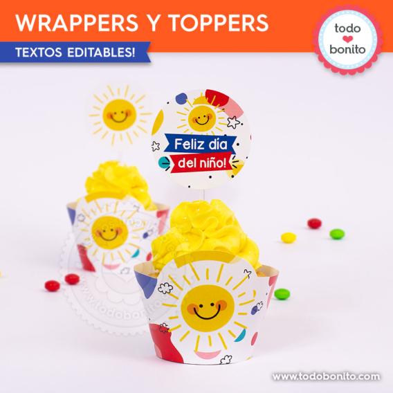 Porta cupcakes para imprimir día del niño
