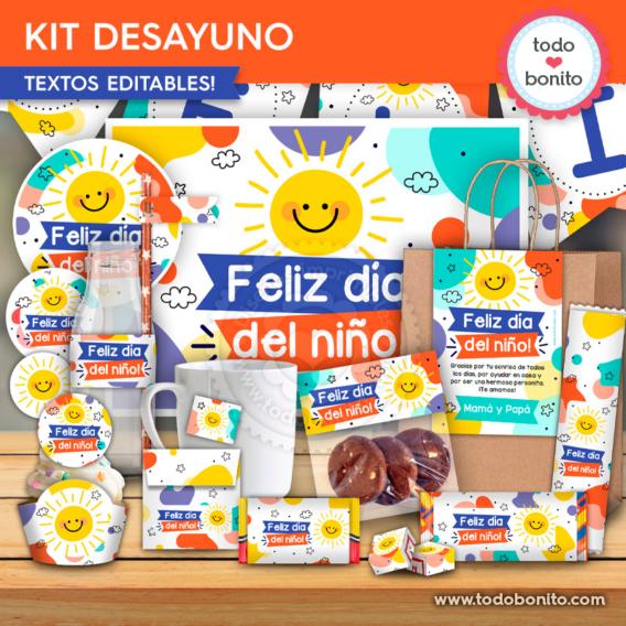 Kit imprimible desayuno para el día del niño