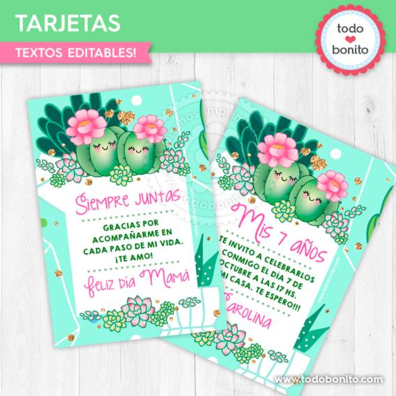 Tarjetas imprimibles de cactus