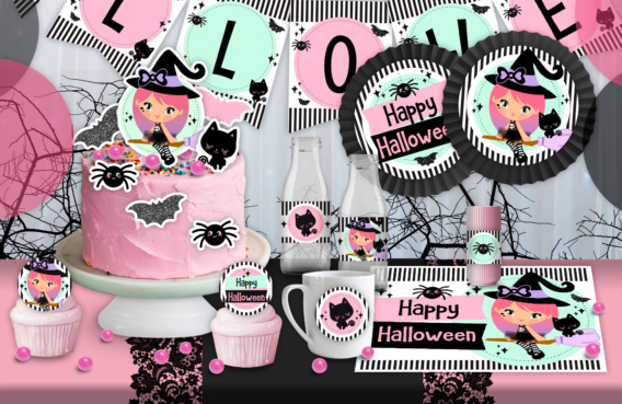 Kits imprimibles de Halloween en tonos pasteles