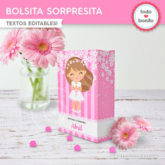 Bolsitas para Primera Comunión margaritas en rosa