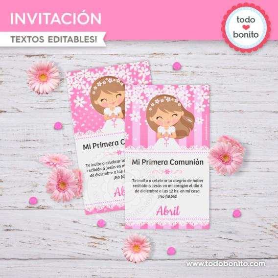 Invitación de Primera Comunión para niñas