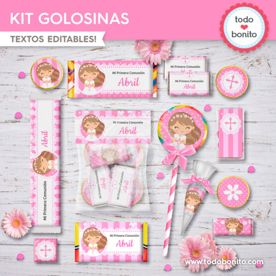 Kit imprimible golosinas para Primera Comunión margaritas en rosa