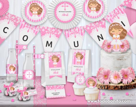 Kit imprimible Primera Comunión margaritas en rosa