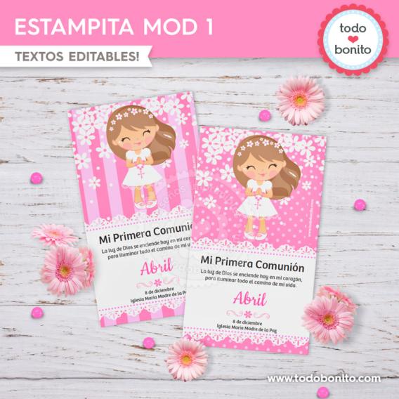 Estampita para imprimir de Primera Comunión para niñas