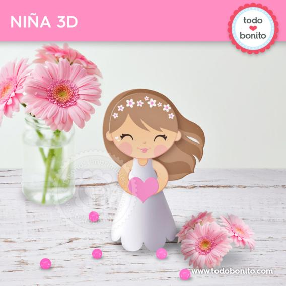 Niña 3D para imprimir de Primera Comunión