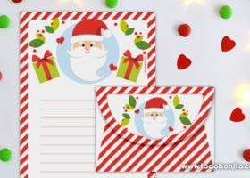 Papeles de carta y sobre para escribir a Santa