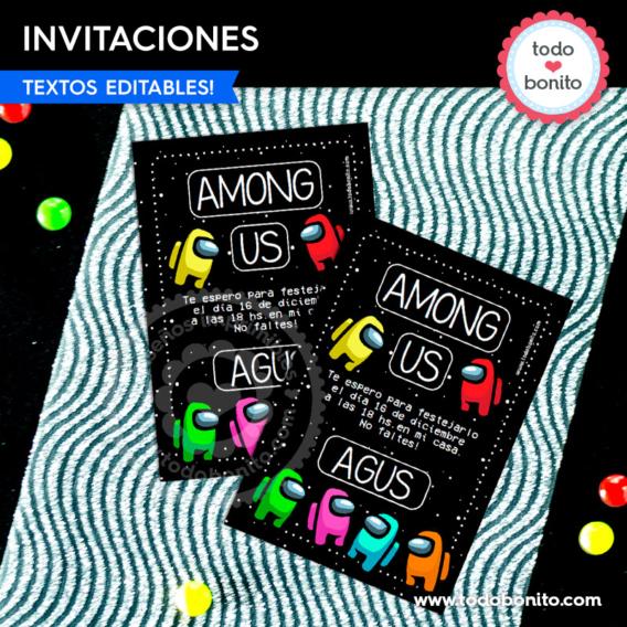 Invitaciones y tarjetas de Among Us para imprimir