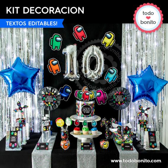 Kit imprimible decoración de cumpleaños de Among Us