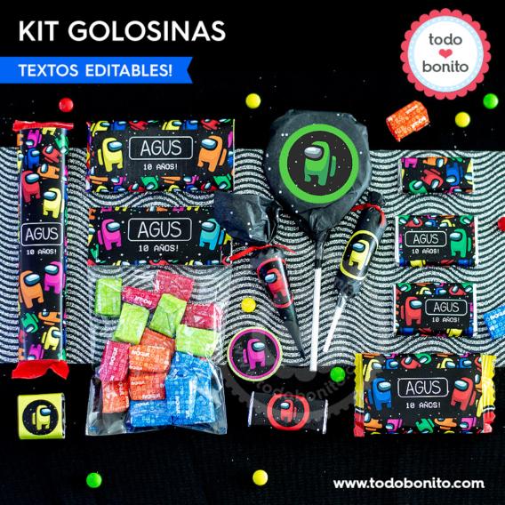 Kit imprimible etiquetas de golosinas de Among Us